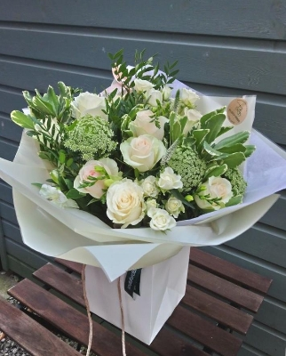 Peaches and Cream hand tied bouquet