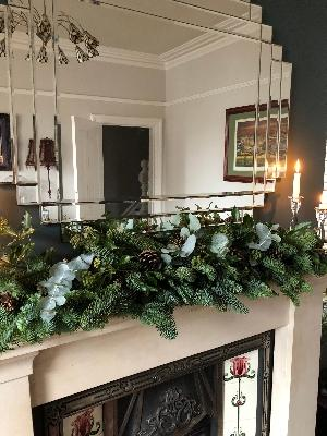 Christmas mantle piece fresh foliage garland