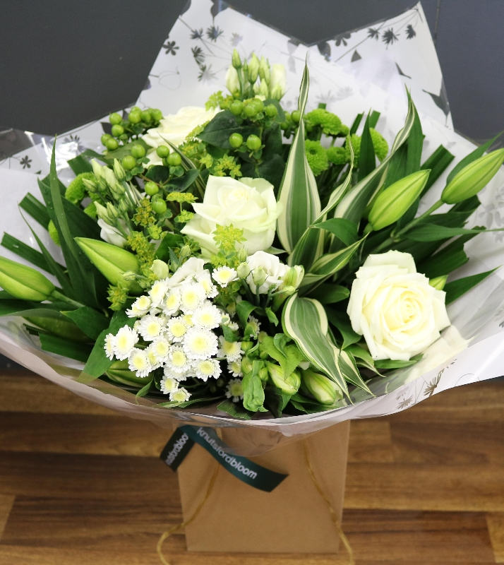 green and white bouquet knutsford bloom cheshire