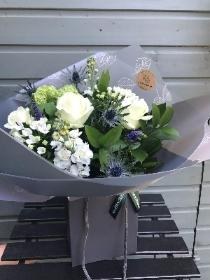 Touch of blue hand tied bouquet