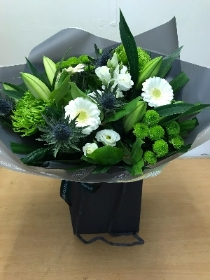 White and green hand tied bouquet