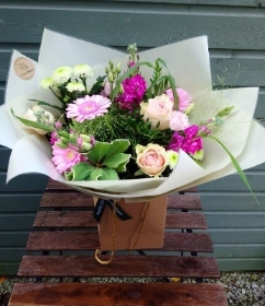 Pretty summer pinks hand tied bouquet